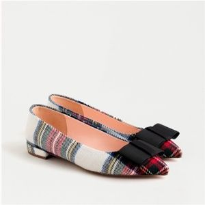 NWT J. Crew | Plaid Bow Ballet Pointed Toe Flats 7
